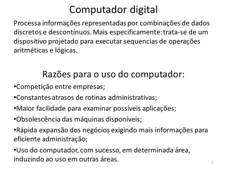 Razões para o uso do computador: