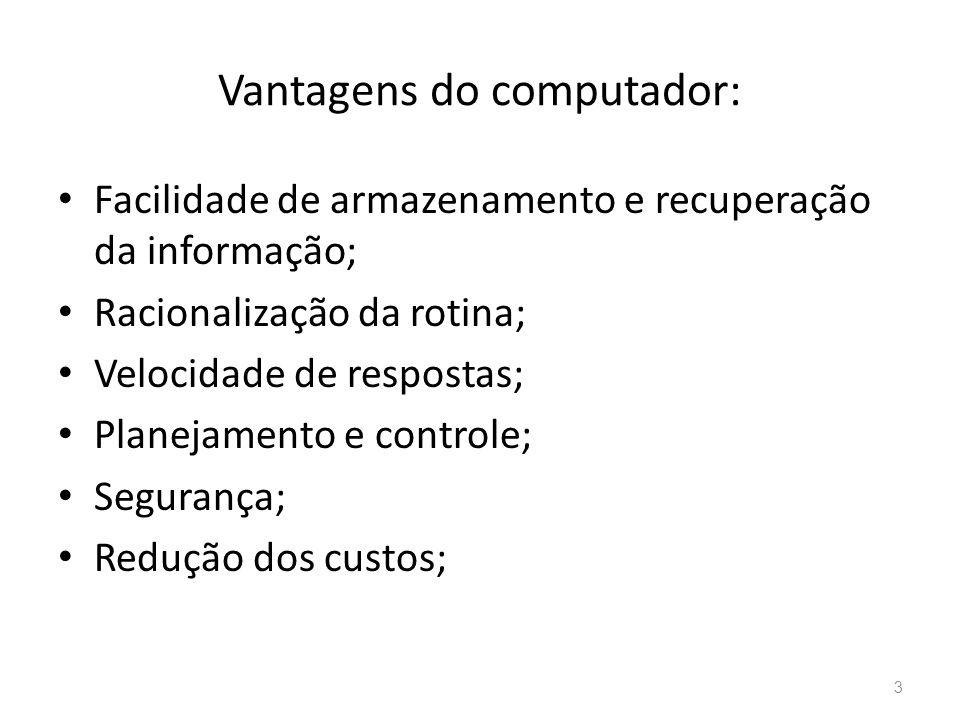 Vantagens do computador: