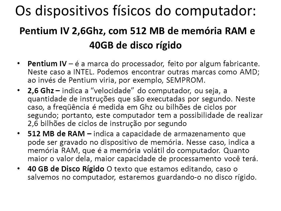 Os dispositivos físicos do computador: Pentium IV 2,6Ghz, com 512 MB de memória RAM e 40GB de disco rígido