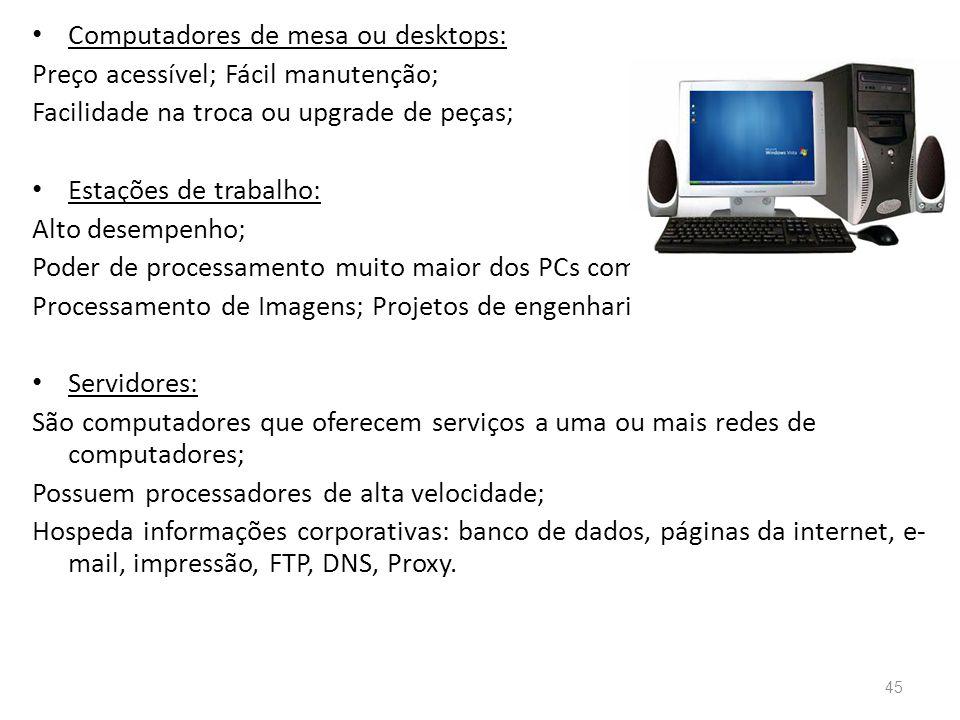 Computadores de mesa ou desktops: