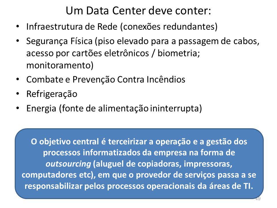 Um Data Center deve conter: