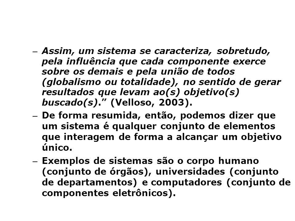 Assim, um sistema se caracteriza, sobretudo, pela influência que cada componente exerce sobre os demais e pela união de todos (globalismo ou totalidade), no sentido de gerar resultados que levam ao(s) objetivo(s) buscado(s). (Velloso, 2003).