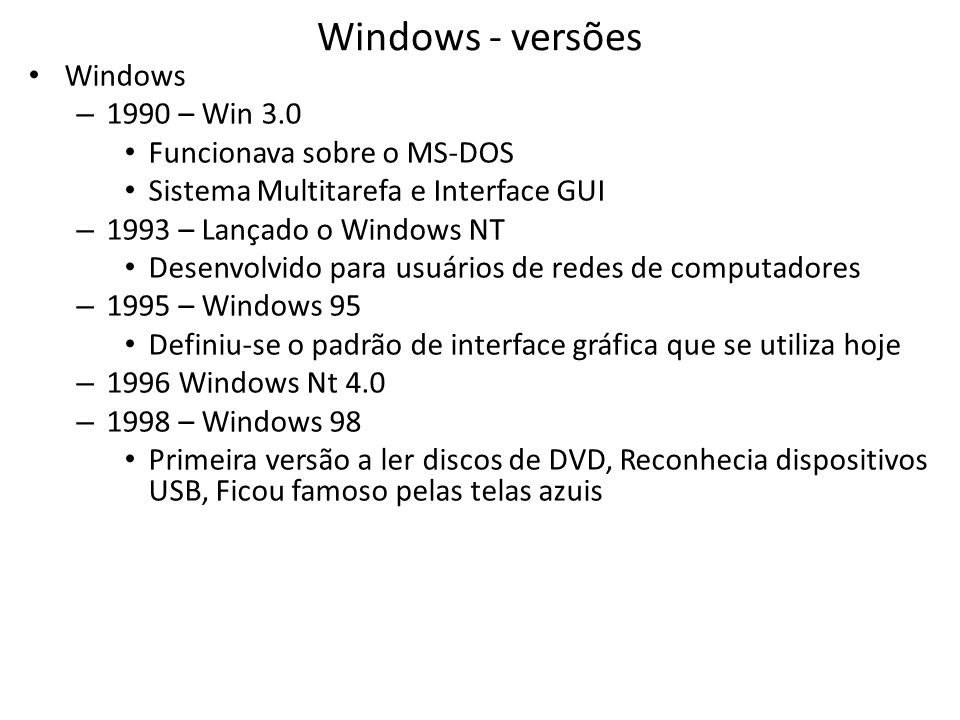 Windows - versões Windows 1990 – Win 3.0 Funcionava sobre o MS-DOS