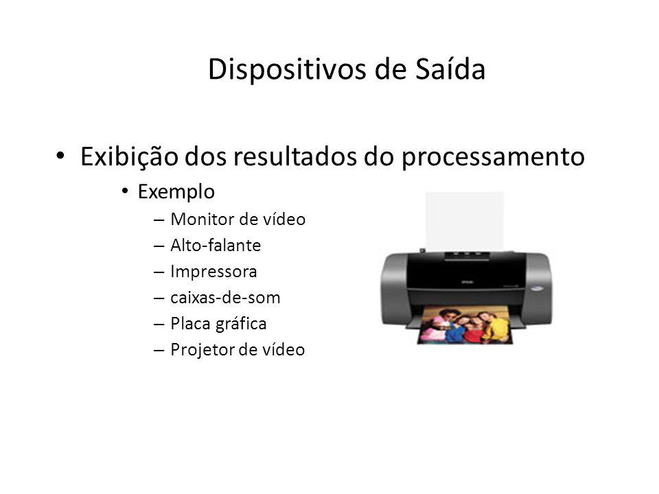 Dispositivos de Saída Exibição dos resultados do processamento Exemplo