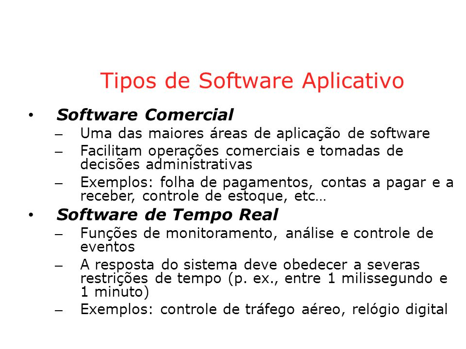 Tipos de Software Aplicativo