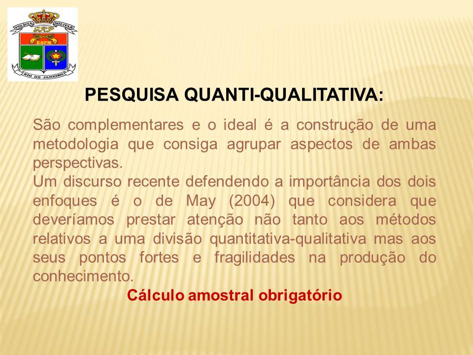 PESQUISA QUANTI-QUALITATIVA: Cálculo amostral obrigatório