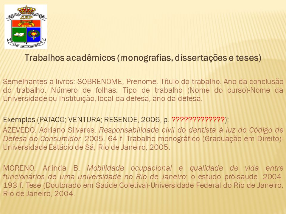 Trabalhos acadêmicos (monografias, dissertações e teses)