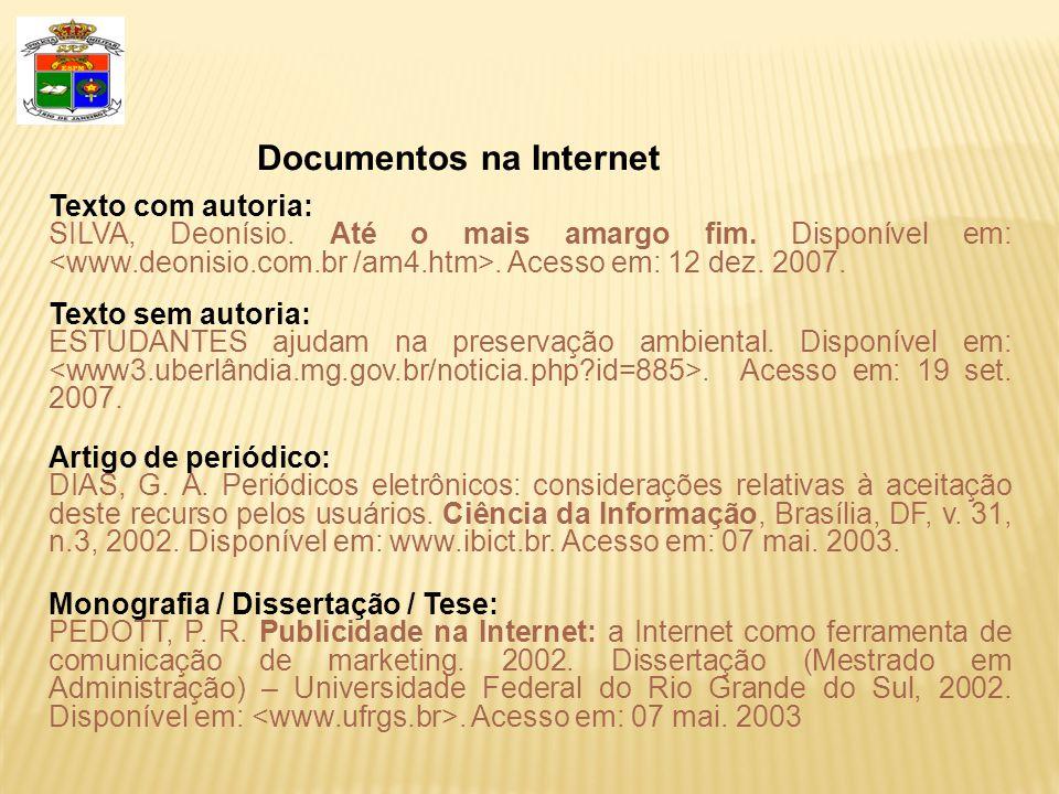 Documentos na Internet
