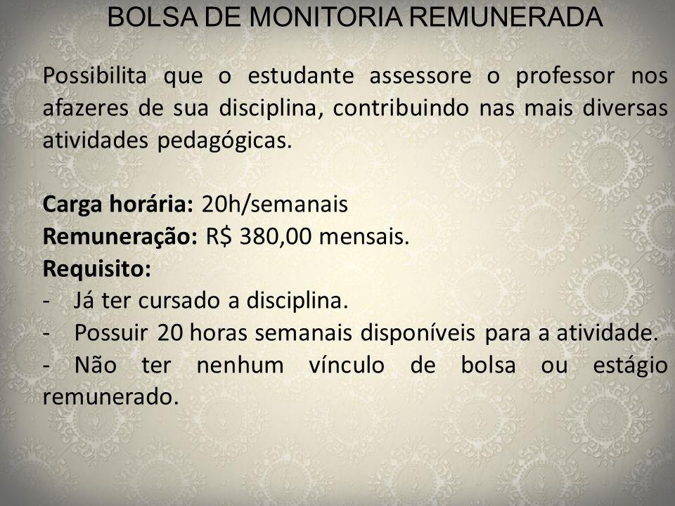 BOLSA DE MONITORIA REMUNERADA