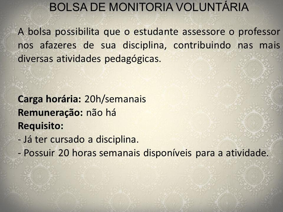 BOLSA DE MONITORIA VOLUNTÁRIA