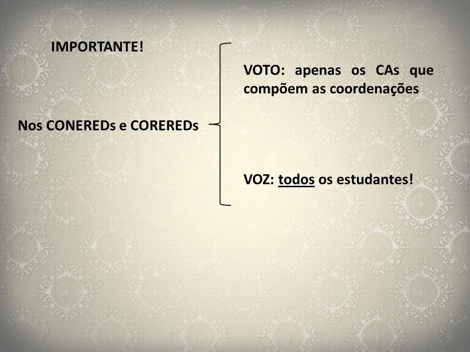 IMPORTANTE. VOTO: apenas os CAs que compõem as coordenações.