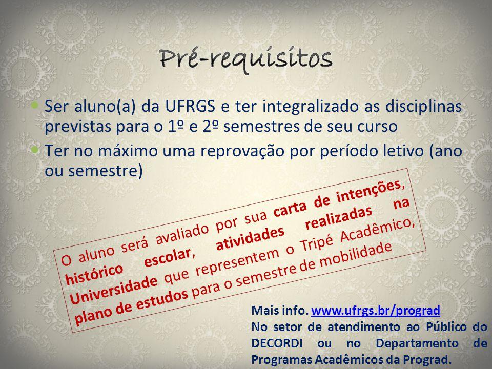 Pré-requisitos Ser aluno(a) da UFRGS e ter integralizado as disciplinas previstas para o 1º e 2º semestres de seu curso.