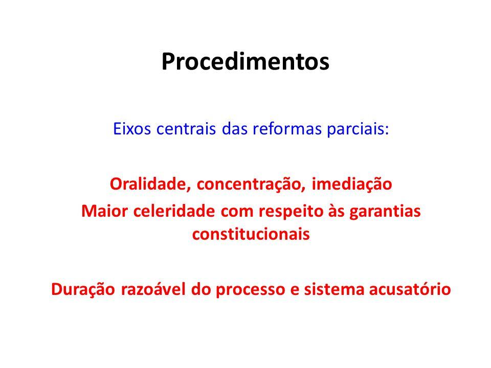 Procedimentos Eixos centrais das reformas parciais: