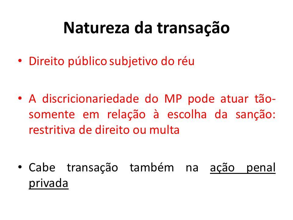 Natureza da transação Direito público subjetivo do réu
