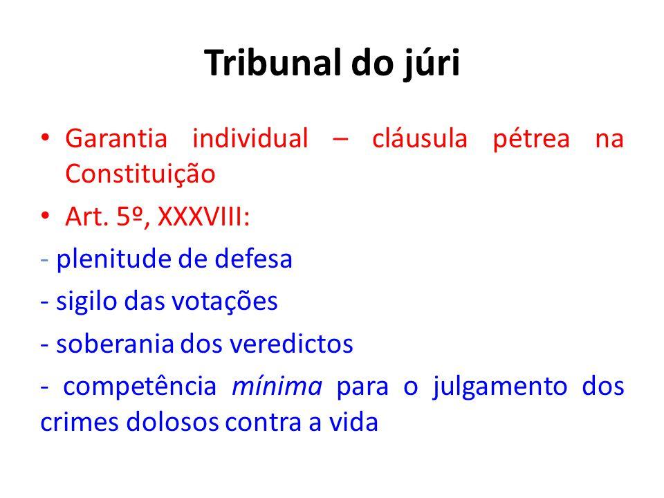 Tribunal do júri Garantia individual – cláusula pétrea na Constituição