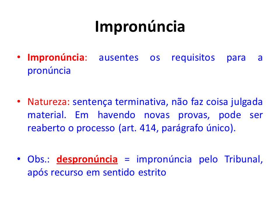 Impronúncia Impronúncia: ausentes os requisitos para a pronúncia