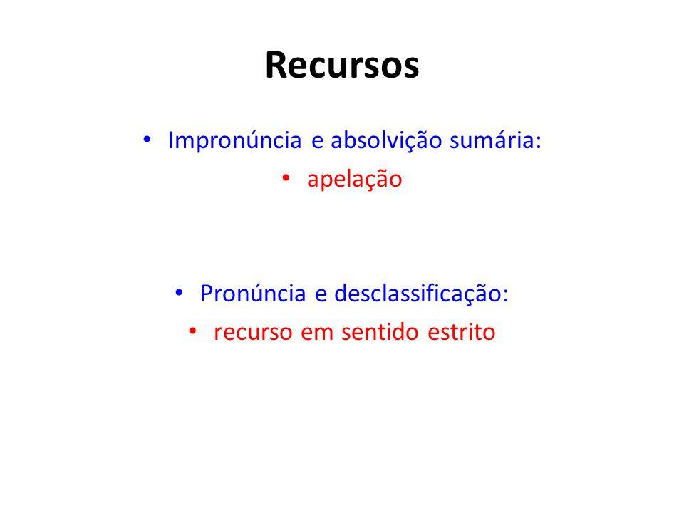 Recursos Impronúncia e absolvição sumária: apelação