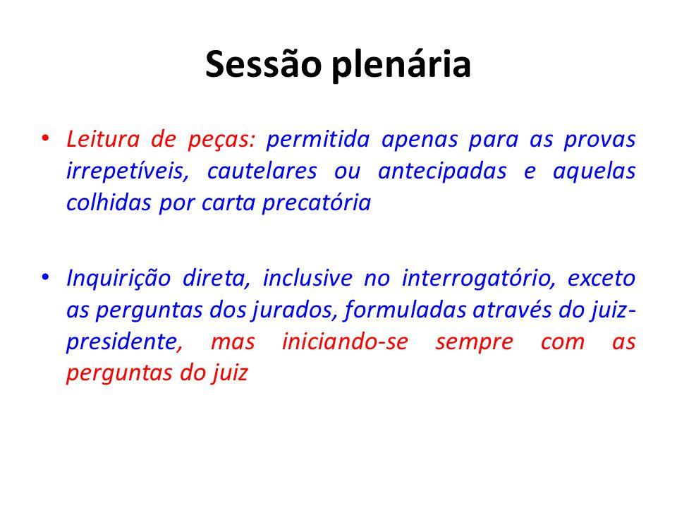 Sessão plenária Leitura de peças: permitida apenas para as provas irrepetíveis, cautelares ou antecipadas e aquelas colhidas por carta precatória.