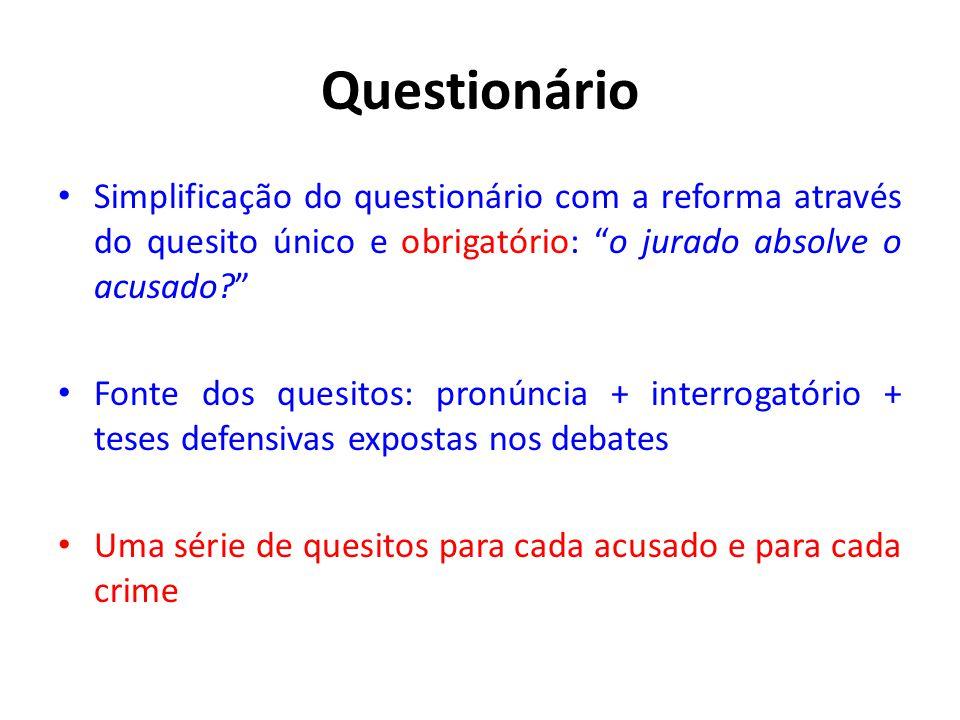 Questionário Simplificação do questionário com a reforma através do quesito único e obrigatório: o jurado absolve o acusado