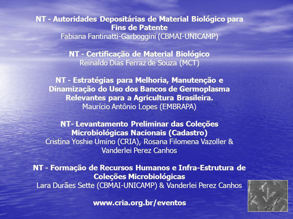 NT - Autoridades Depositárias de Material Biológico para
