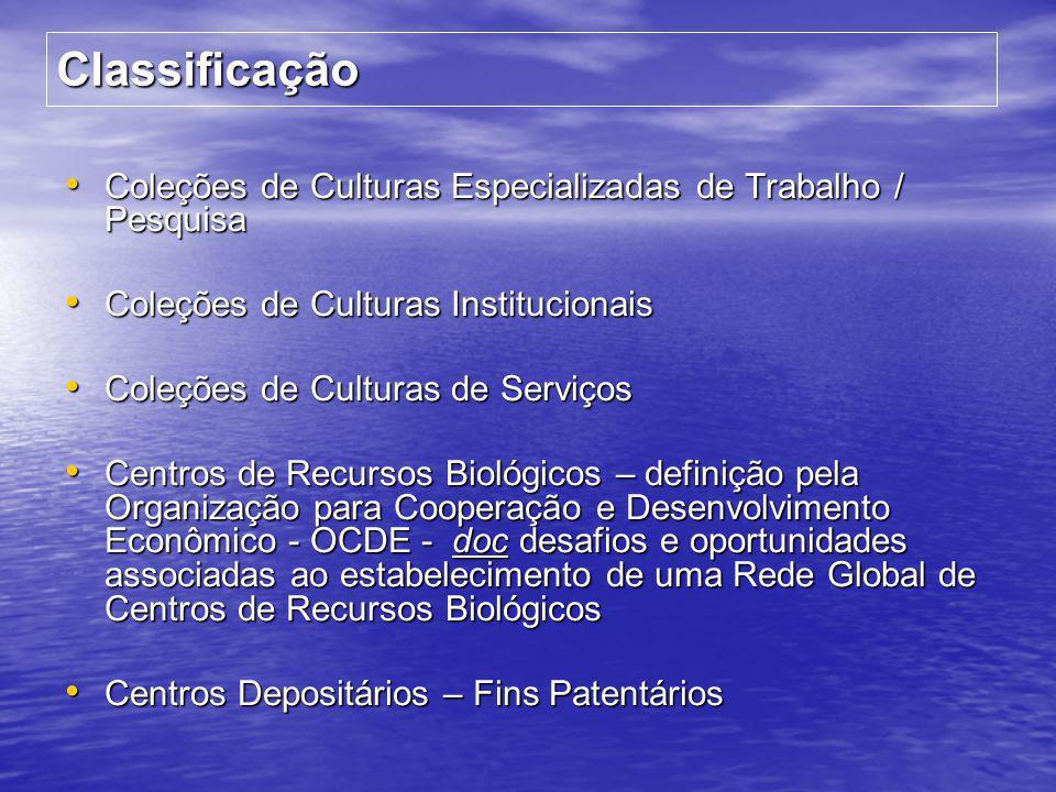 Classificação Coleções de Culturas Especializadas de Trabalho / Pesquisa. Coleções de Culturas Institucionais.