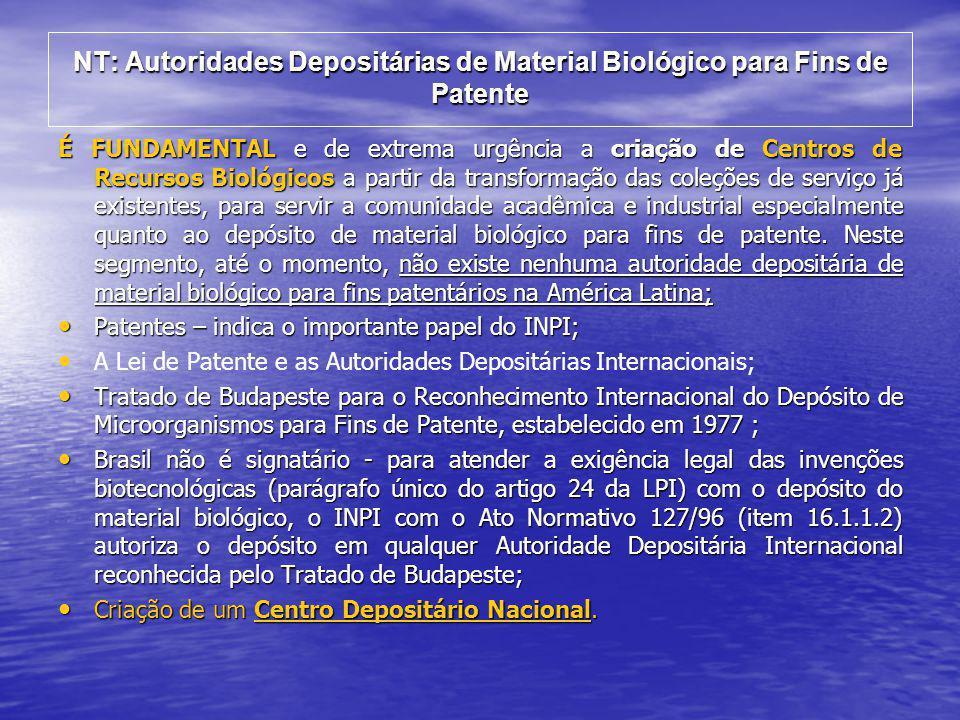 NT: Autoridades Depositárias de Material Biológico para Fins de Patente
