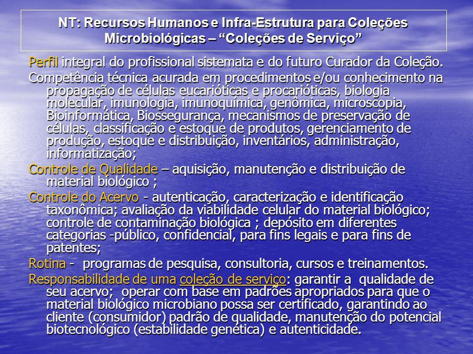 NT: Recursos Humanos e Infra-Estrutura para Coleções Microbiológicas – Coleções de Serviço
