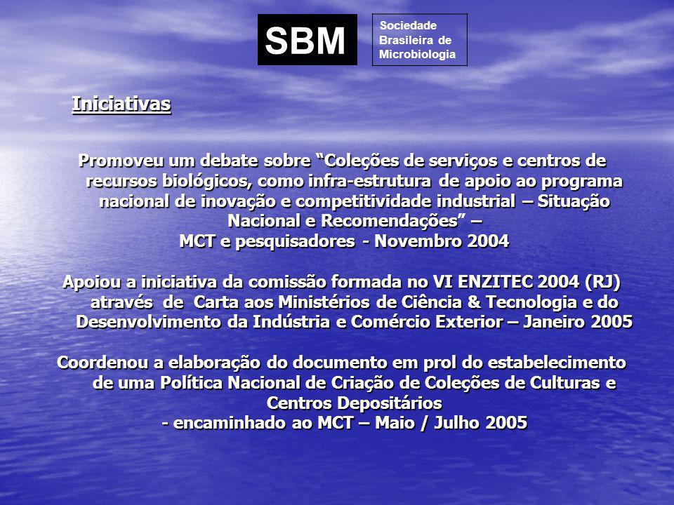 SBM Sociedade. Brasileira de. Microbiologia. Iniciativas.