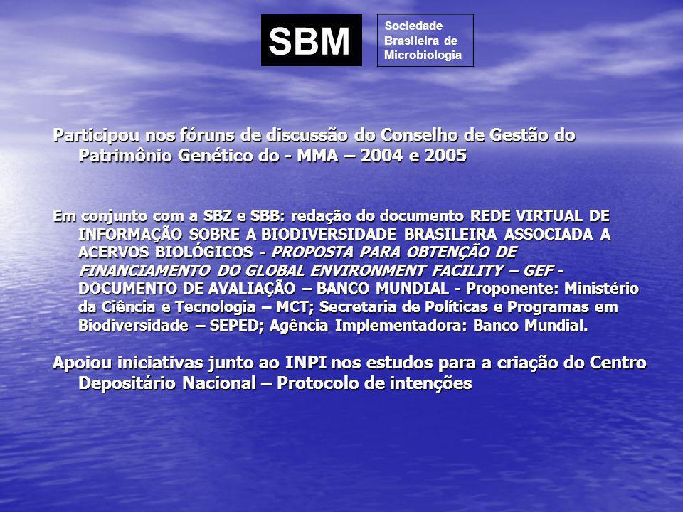 SBM Sociedade. Brasileira de. Microbiologia.