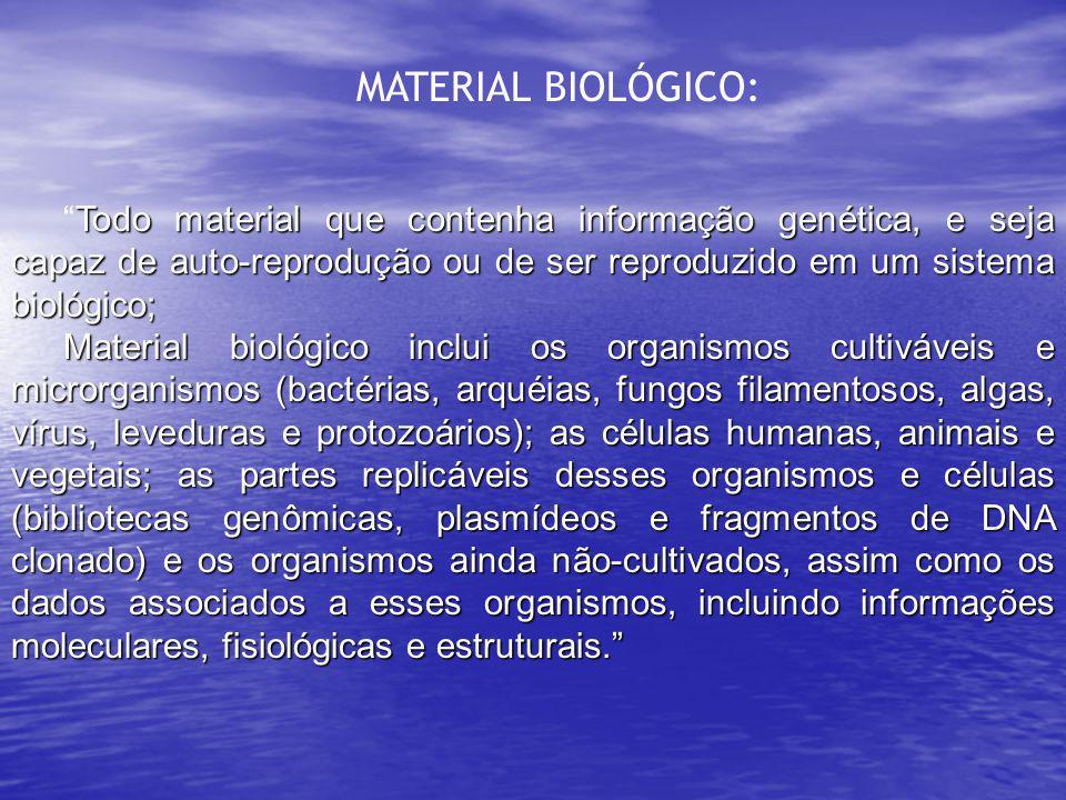 MATERIAL BIOLÓGICO: Todo material que contenha informação genética, e seja capaz de auto-reprodução ou de ser reproduzido em um sistema biológico;