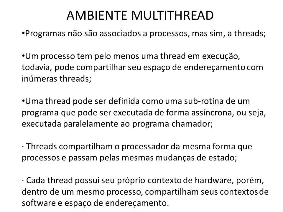 AMBIENTE MULTITHREAD Programas não são associados a processos, mas sim, a threads;