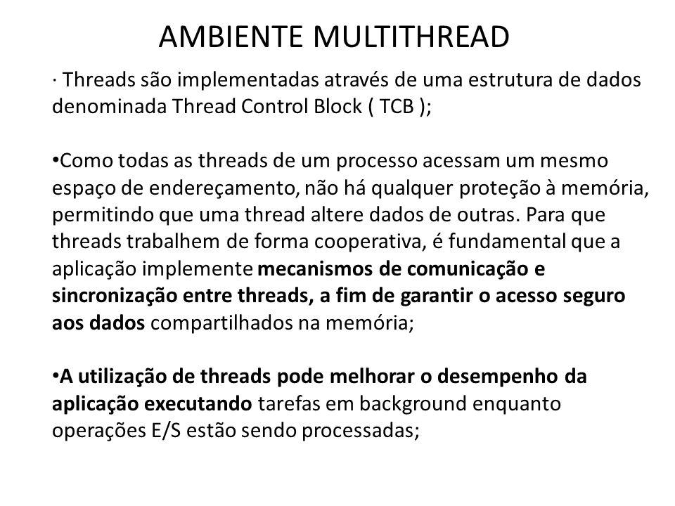 AMBIENTE MULTITHREAD · Threads são implementadas através de uma estrutura de dados denominada Thread Control Block ( TCB );