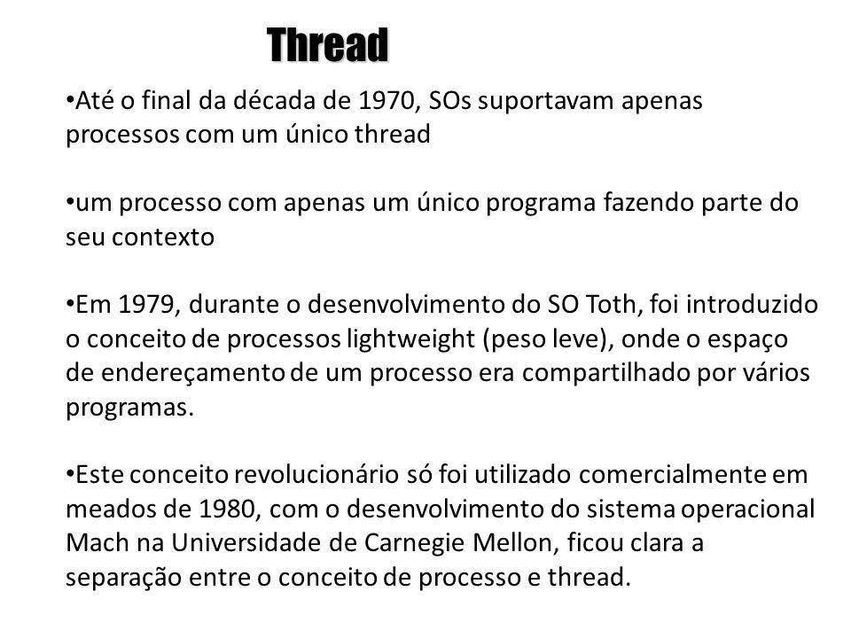 Thread Até o final da década de 1970, SOs suportavam apenas processos com um único thread.