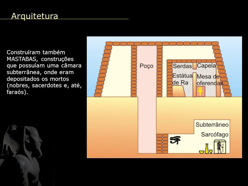 Arquitetura Construíram também MASTABAS, construções