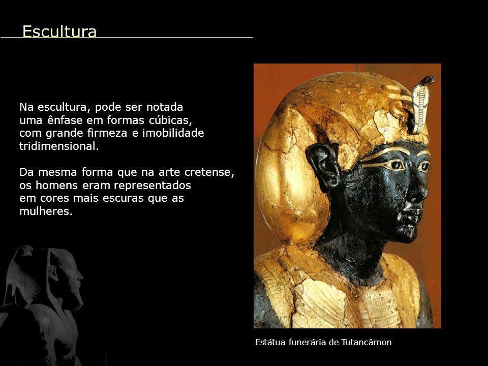 Escultura Na escultura, pode ser notada uma ênfase em formas cúbicas,