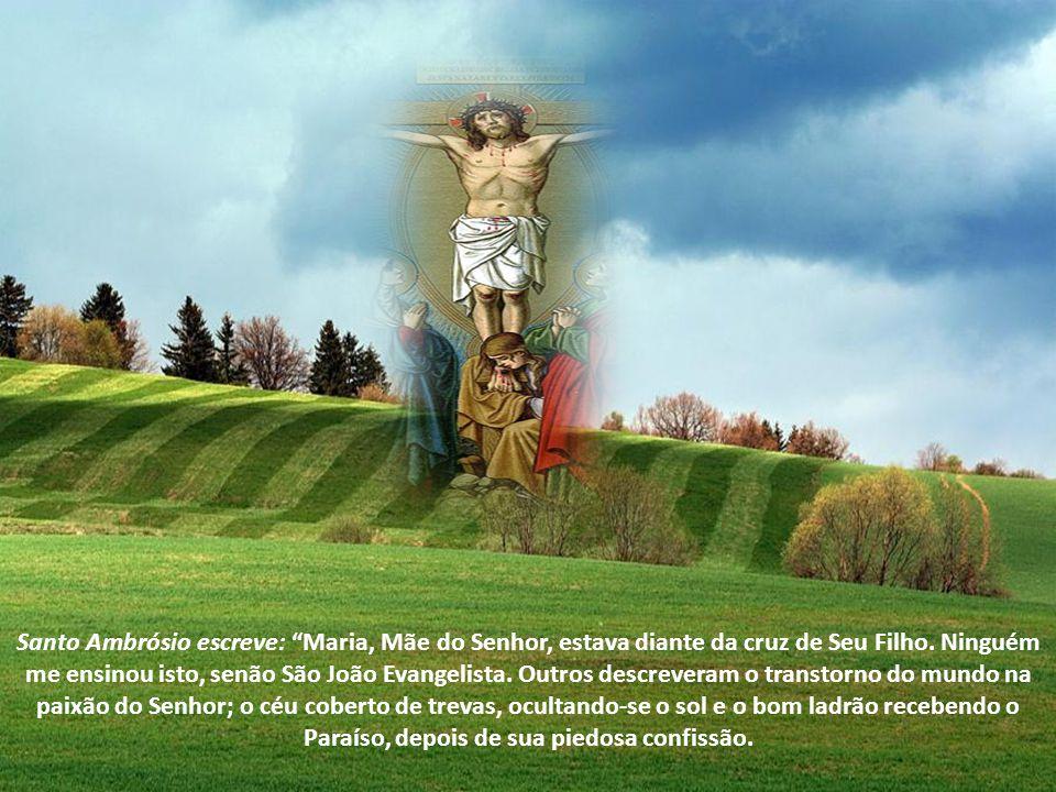 Santo Ambrósio escreve: Maria, Mãe do Senhor, estava diante da cruz de Seu Filho.