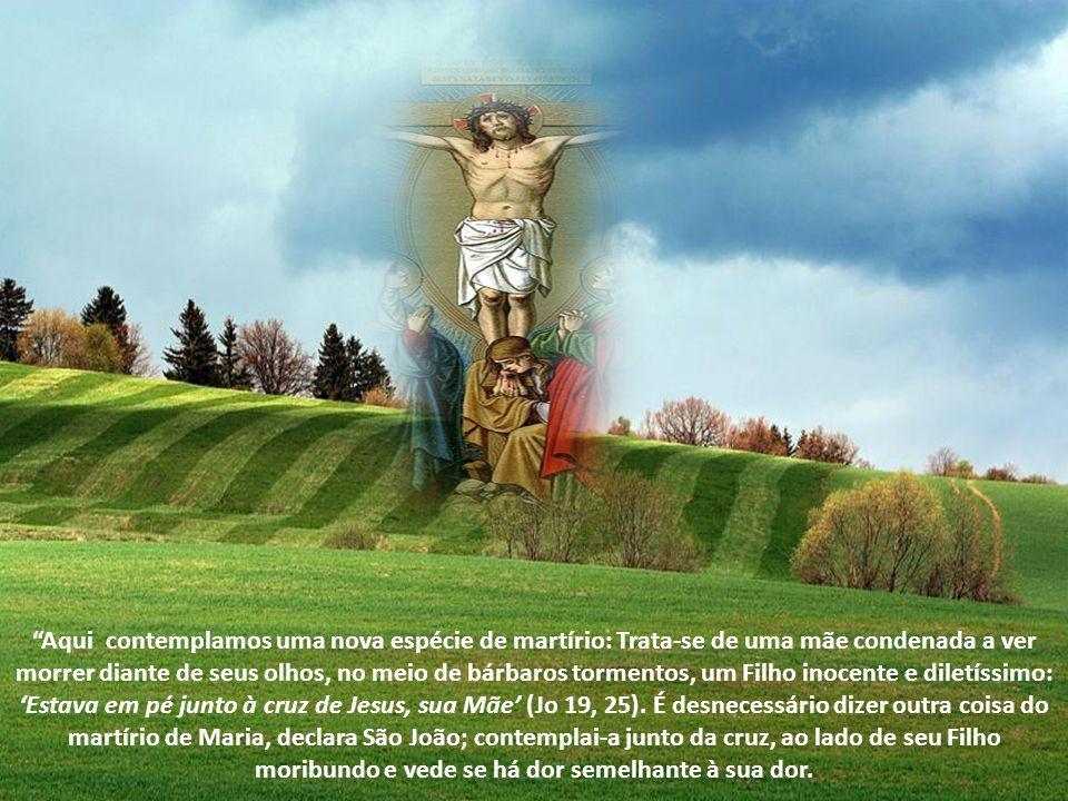 Aqui contemplamos uma nova espécie de martírio: Trata-se de uma mãe condenada a ver morrer diante de seus olhos, no meio de bárbaros tormentos, um Filho inocente e diletíssimo: 'Estava em pé junto à cruz de Jesus, sua Mãe' (Jo 19, 25).