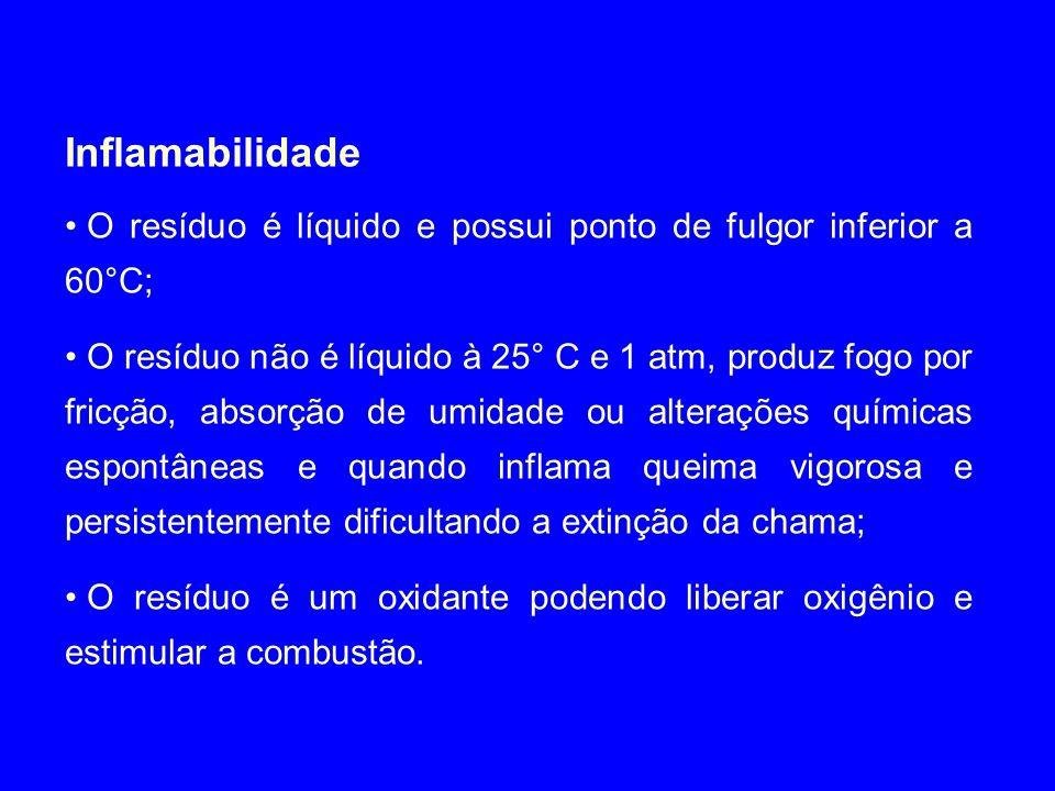 Inflamabilidade O resíduo é líquido e possui ponto de fulgor inferior a 60°C;