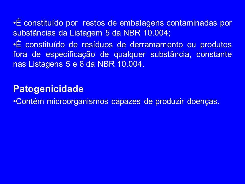 É constituído por restos de embalagens contaminadas por substâncias da Listagem 5 da NBR 10.004;
