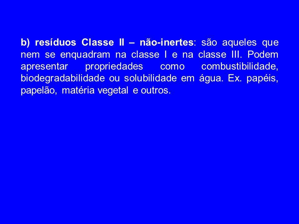 b) resíduos Classe II – não-inertes: são aqueles que nem se enquadram na classe I e na classe III.