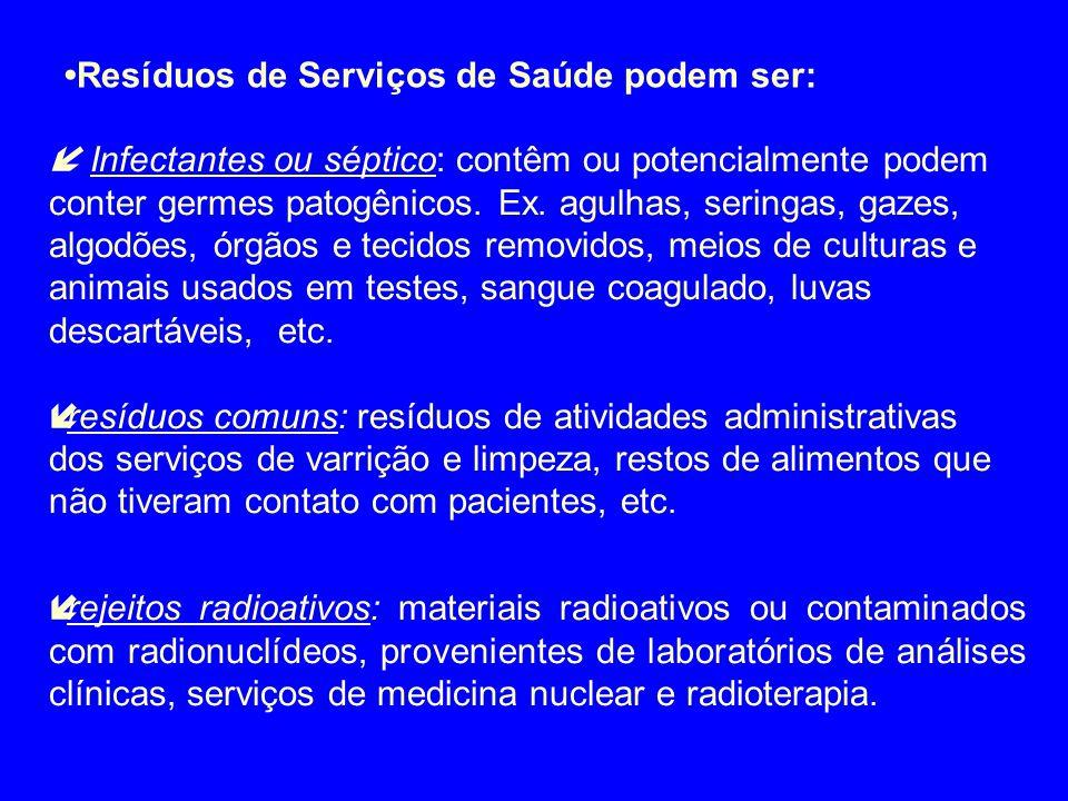 •Resíduos de Serviços de Saúde podem ser: