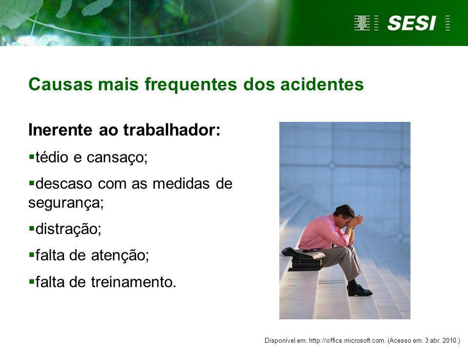 Causas mais frequentes dos acidentes
