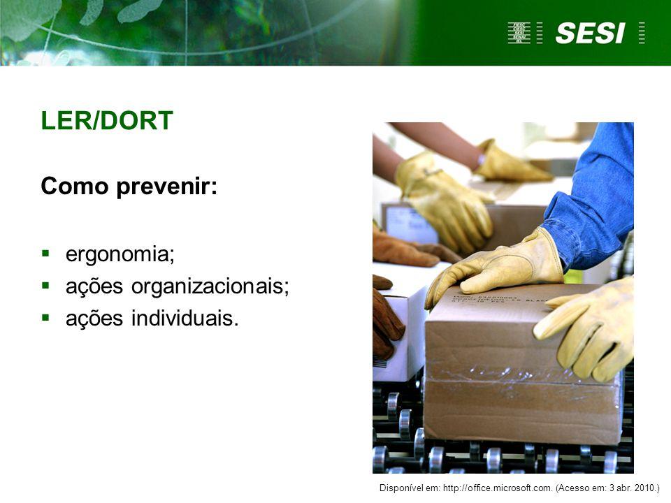 LER/DORT Como prevenir: ergonomia; ações organizacionais;