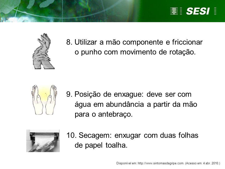 10. Secagem: enxugar com duas folhas de papel toalha.
