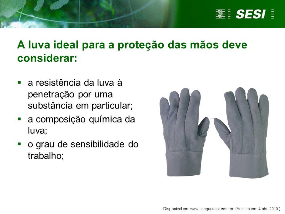 A luva ideal para a proteção das mãos deve considerar: