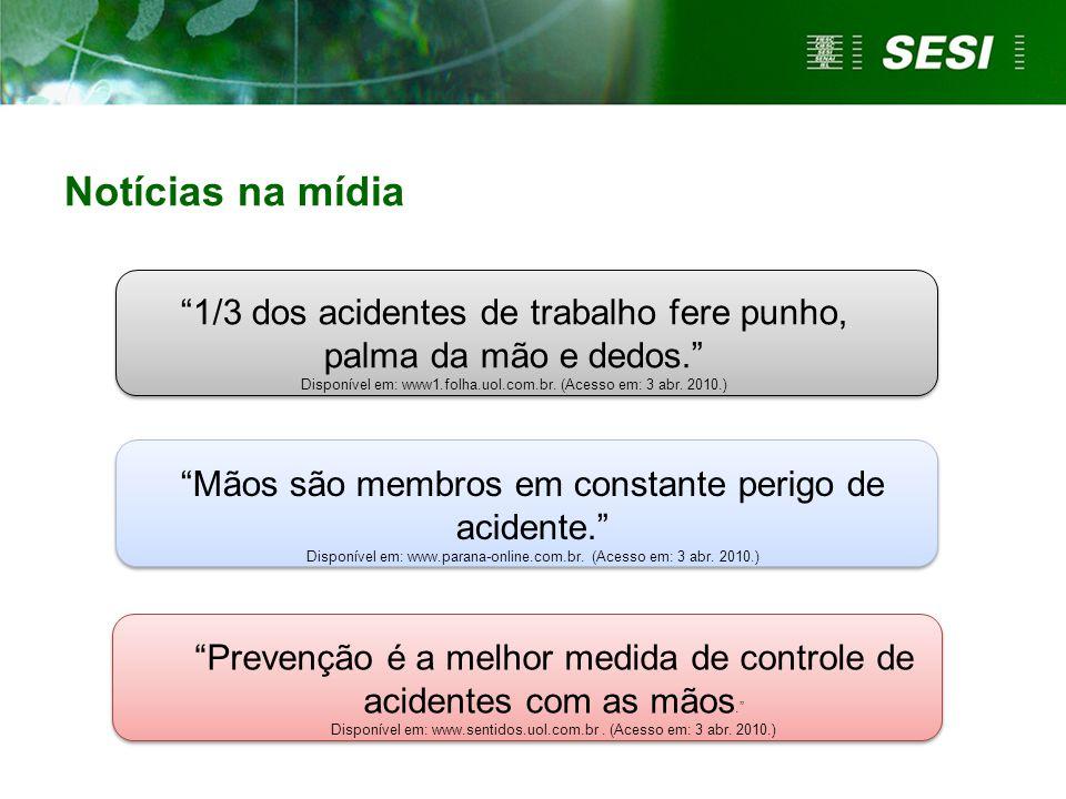 Notícias na mídia 1/3 dos acidentes de trabalho fere punho, palma da mão e dedos. Disponível em: www1.folha.uol.com.br. (Acesso em: 3 abr. 2010.)