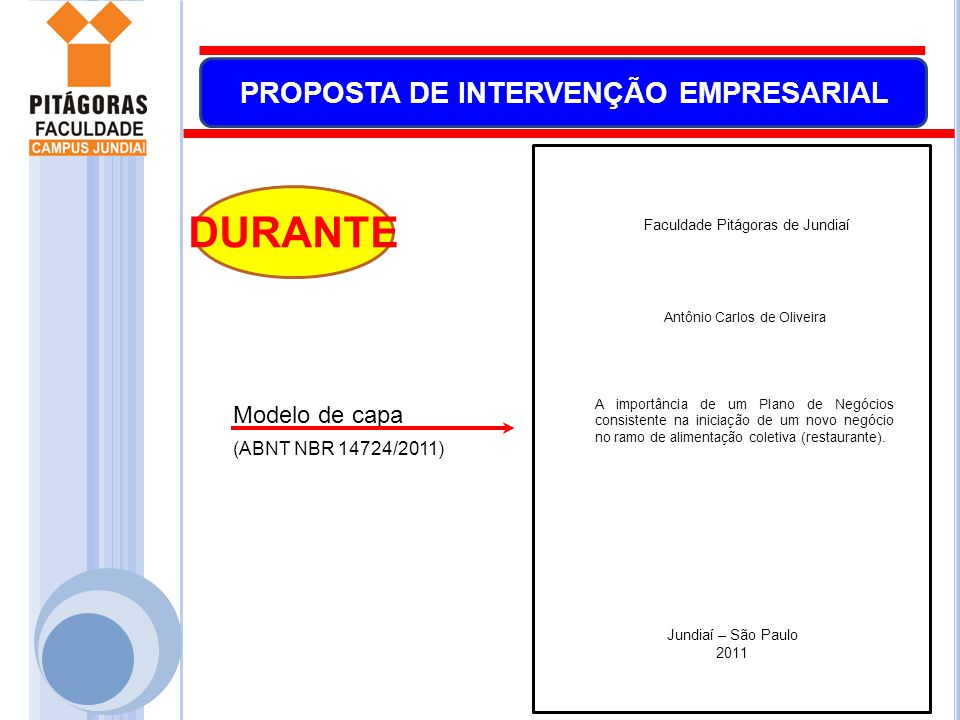 DURANTE Modelo de capa (ABNT NBR 14724/2011)