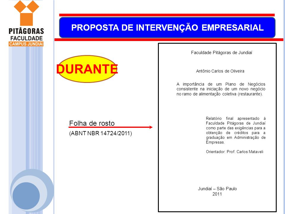 DURANTE Folha de rosto (ABNT NBR 14724/2011)