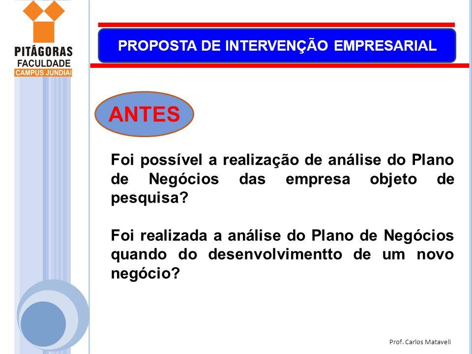 ANTES Foi possível a realização de análise do Plano de Negócios das empresa objeto de pesquisa