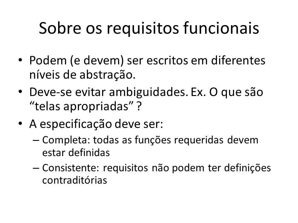 Sobre os requisitos funcionais